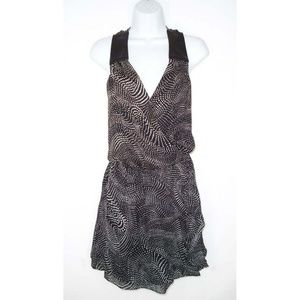 Parker S Wrap Dress Dots Silk + Leather Mini